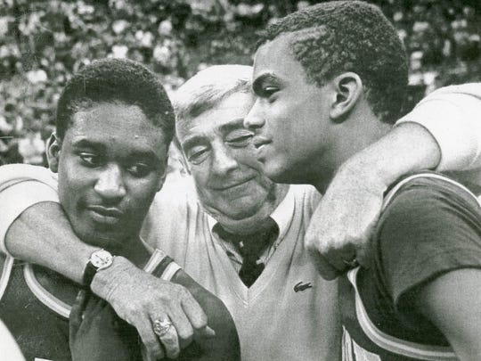 Lyndon Jones (from left), coach Bill Green and Jay