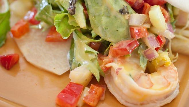 Jicama tostada with shrimp salad at Los Sombreros in Scottsdale.