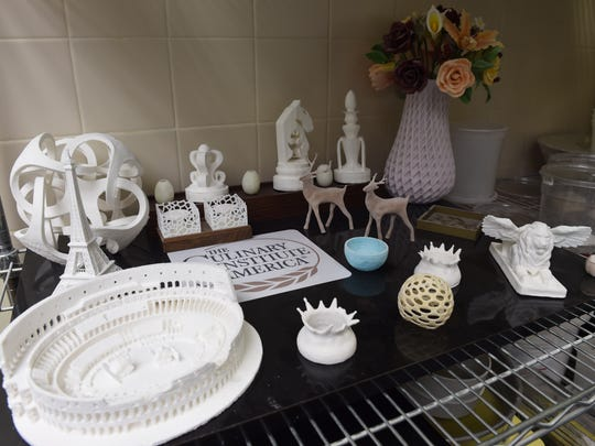 Examples of edible 3D printed items from the Culinary