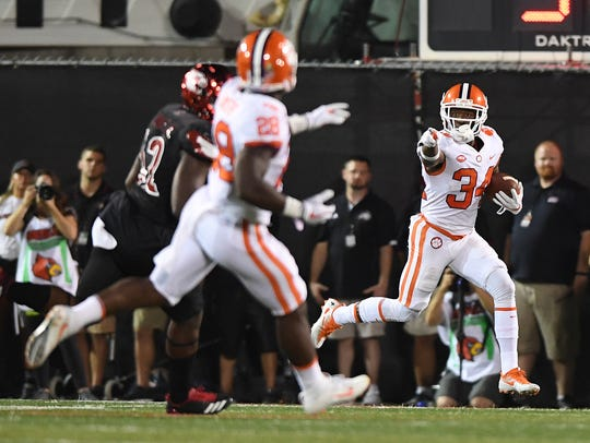 Clemson wide receiver Ray-Ray McCloud (34) returns