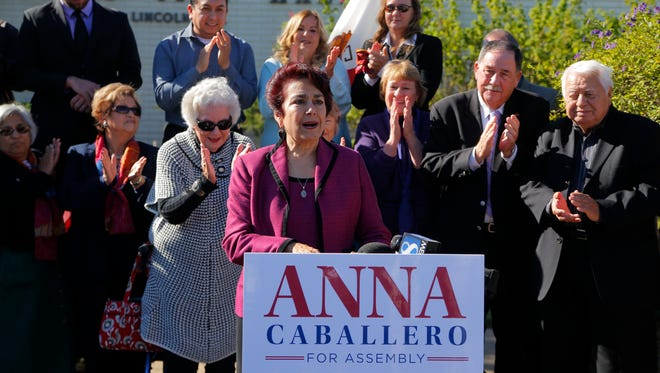 Former Salinas mayor Anna Caballero announces her candidacy for the 30th Assembly District on Thursday in front of Salinas City Hall.
