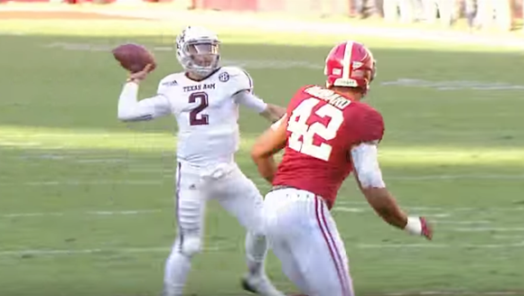 Johnny Manziel winds up against Alabama in 2012.