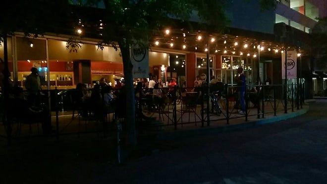 Bon Temps Coffee Bar patio at night.