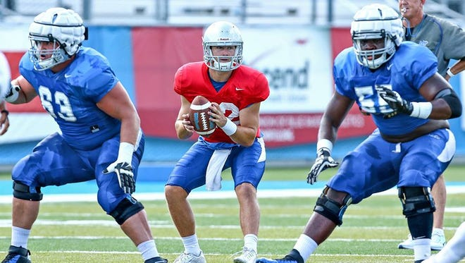 """Quarterback Brent Stockstill said the Blue Raiders' scrimmage was """"decent"""" but that the offense needs to clean things up."""