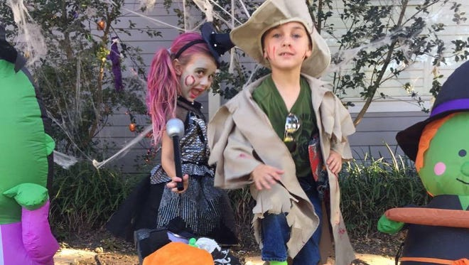 Juliet and James Cutrera in their Halloween costumes this year.