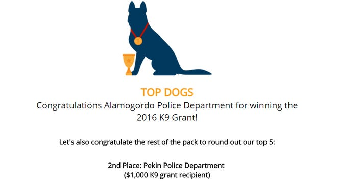 The Alamogordo Police Department are the big winners of a $5,000 grant from Aftermath Services to jumpstart their own K-9 unit.