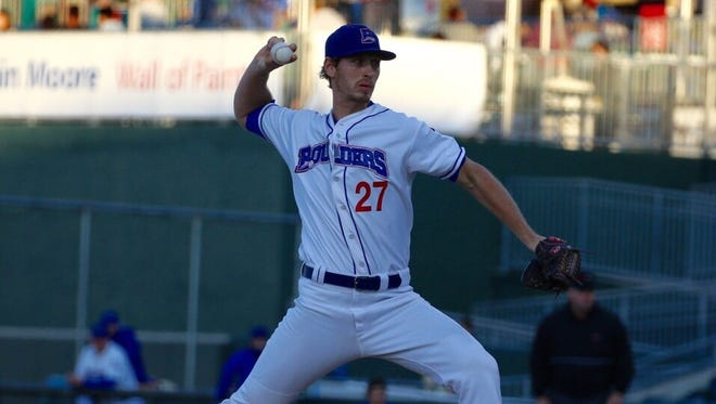 Rockland Boulders pitcher Marcus Solbach in action during the team's 7-1 loss to the New Jersey Jackals in Game 3 of a Can-Am League opening round playoff series at Palisades Credit Union Park in Pomona on Saturday, September 9th, 2017.