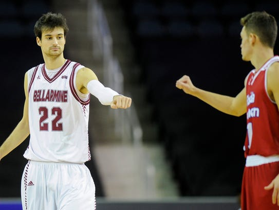 Adam Eberhard and Bellarmine beat USI 78-62 Monday at Knights Hall. He was just shy of a triple-double with 16 points, 10 rebounds and eight assists.