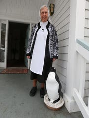 Sr. Mary Francis with the penguin the Sisters have