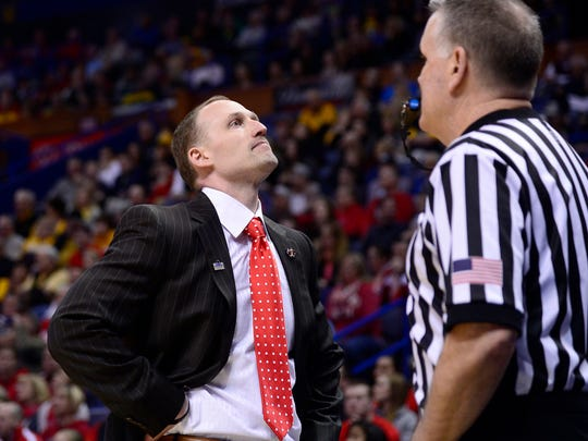 Mar 5, 2017; St. Louis, MO, USA; Illinois State Redbirds head coach Dan Muller reacts after a call against his team as they play Wichita State Shockers in the first half during the Championship game of the Missouri Valley Conference Tournament at Scottrade Center.