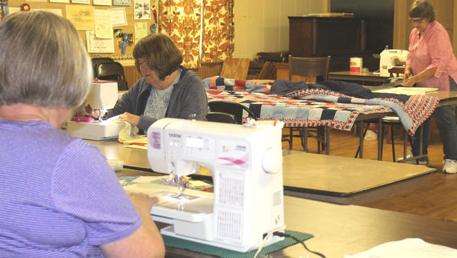 Quilters, Diana Strudwick and Diane Ware, both of Sturgis and Betty Persons of Burr Oak, are in a COA sewing group who meet at the Burr Oak Grange Hall and support several local entities.