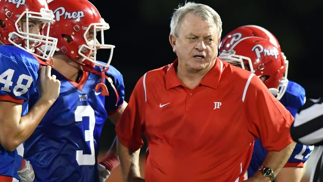 Jackson Prep head coach Ricky Black coaches against Washington School during the Patriots' win in Flowood. Black won his 347th game and moved into second place in all-time victories in Mississippi high school football.