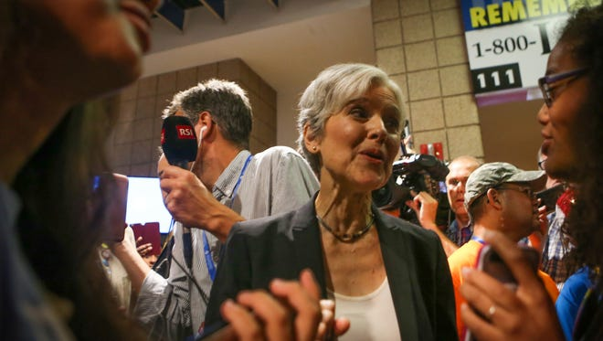 Green Party presidential candidate Jill Stein speaks to supporters during the 2016 Democratic National Convention.