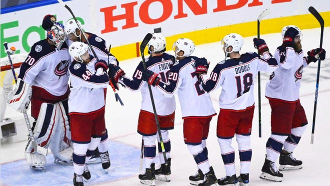 Joonas Korpisalo (70) and the Blue Jackets overcame a nightmarish ending from their previous game to win Game 5 and a playoff series against the Toronto Maple Leafs on Sunday night in Toronto.