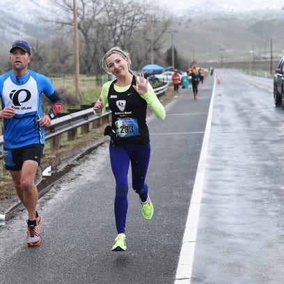 Colorado Marathon women's winner Taylor Sie runs the