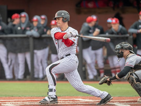 Rutgers catcher Nick Matera of Roxbury bats against