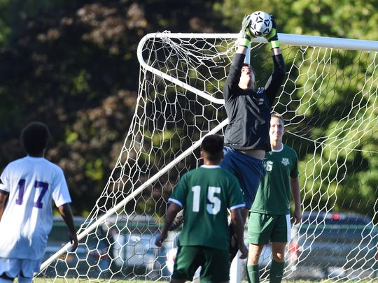 Webutuck's Thomas Stephanopoulos makes a save during Thursday's game 1-1 tie in Rhinebeck.