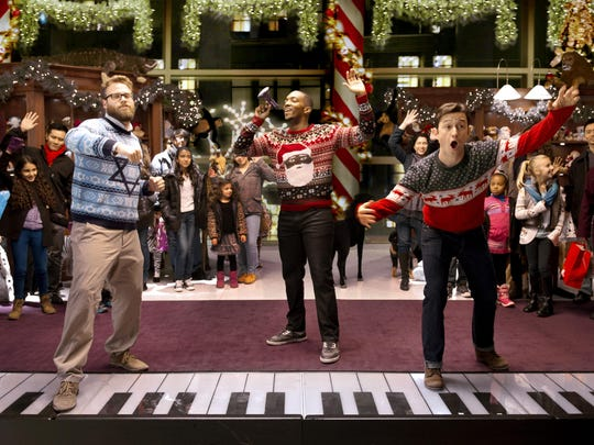 "Seth Rogen, Joseph Gordon-Levitt and Anthony Mackie star in ""The Night Before."""