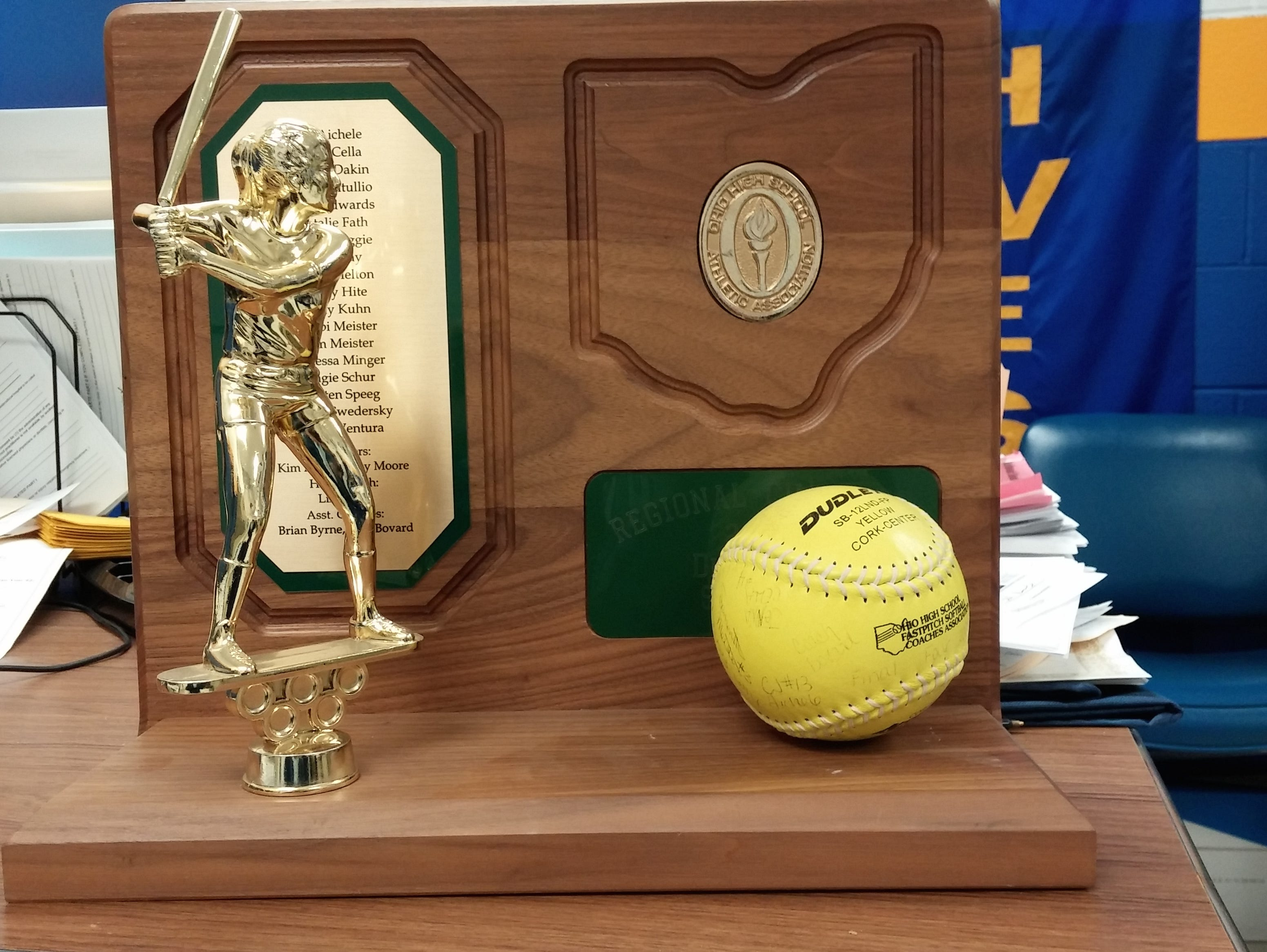The 2000 Southwest District softball regional championship trophy (note the broken bat).