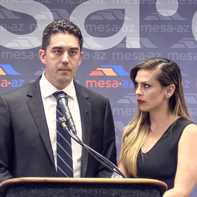 Mesa Councilman Ryan Winkle holds a press conference
