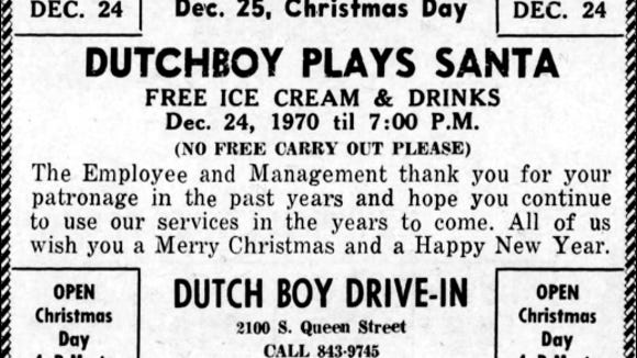 Christmas ad for the Dutch Boy Drive-In, appearing in the December 24, 1970 issue of the York Daily Record