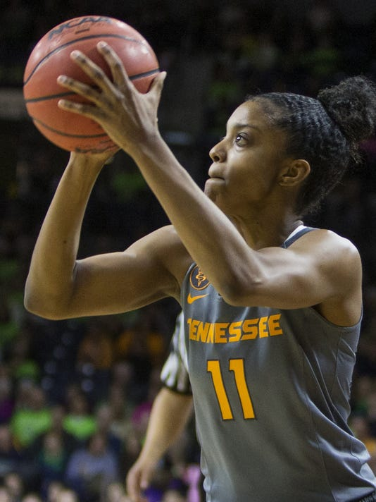 FILE - In this Jan. 18, 2016, file photo, Tennessee's Diamond DeShields (11) shoots during the first half of an NCAA college basketball game  in South Bend, Ind. The 2013 high school senior class was one of the most talented in recent women's basketball history.  It had a plethora of talented guards and post players led by Diamond DeShields, Kaela Davis and Taya Reimer. So far, though, the biggest mark the group has left at the collegiate level is the high transfer rate among its top stars. DeShields left North Carolina for Tennessee.  (AP Photo/Robert Franklin, File)