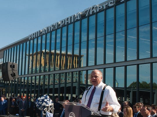 State Senate President Steve Sweeney speaks at the ribbon cutting at the Sixers new training complex in Camden.