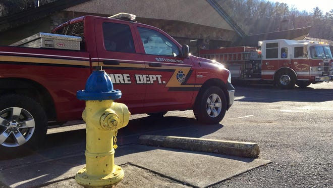 A fire hydrant sits outside a Gatlinburg fire station. Hydrants ran dry on Nov. 28 when a wildfire that began in the Great Smoky Mountains National Park swept into the city, damaging pumping stations. .