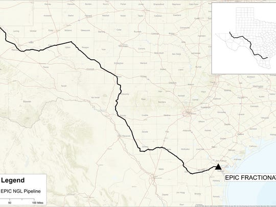 Pictured is the route of the 650-mile Epic NGL Pipeline