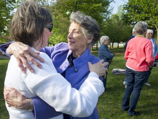 Frances Wolf, left, hugs her mother-in-law, Cornelia, after a rally for Tom Wolf in Mount Wolf two days before the May 20 gubernatorial primary in 2014. Cornelia died Thursday at the age of 94.