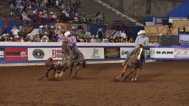 Luke Ryan (right) and his partner CJ Crim compete in a team roping event. Ryan, an incoming senior at Hillsdale High School, and Crim recently competed in the 2020 National High School Finals Rodeo competition from July 17-23 in Guthrie, Okla.