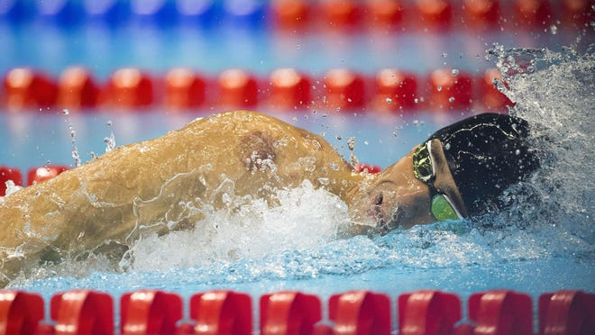 U.S. swimmer Michael Phelps swims in the 4x200 meter relay final at the Olympic Aquatic Stadium in Rio de Janeiro, Brazil, on Aug. 9.