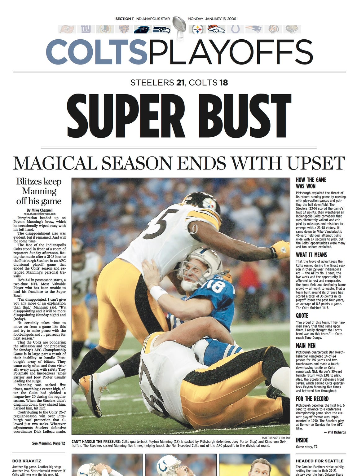 The Indianapolis Star's sports page the day after the Steelers upset the Colts.