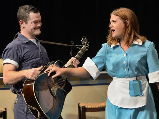 """Jackson (Aksel Krafnick) tries to lure Prudie (Kimberly Van Dusen) on a trip during a rehearsal Sept. 2 of the Pioneer Place on Fifth production of """"Pump Boys and Dinettes."""""""