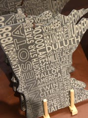 A Minnesota-themed cheese board is on display Thursday, March 2, at Herberger's in St. Cloud.