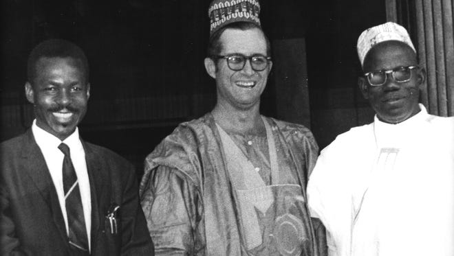 Upon departing Chad in the last days of 1969, Roy Harrell was presented a grand boubou, the traditional  dress of West African men, by Chadian government ministers.