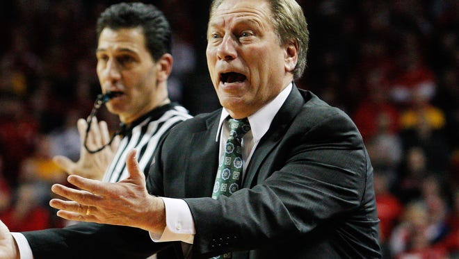 Michigan State coach Tom Izzo reacts during the game against Nebraska in the second half at Pinnacle Bank Arena on Saturday. Nebraska won 79-77.