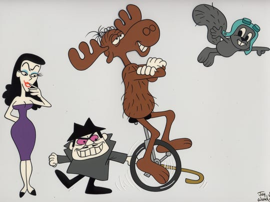 "June Foray provided the voices for the villainous Natasha (left) and the heroic Rocky (right) on ""The Rocky and Bullwinkle Show."""