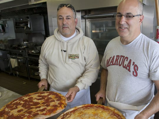 "Joe Maruca (right) and Domenic Maruca of Maruca's Tomato Pies in Seaside Heights. Their father, Anthony ""Jake"" Maruca, and three uncles started the business in Trenton in 1947 and it opened in Seaside in 1950."