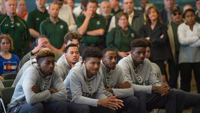 CSU men's basketball players watch a press conference announcing Niko Medved's new position as men's basketball coach with the Rams on Friday, March 23, 2018.