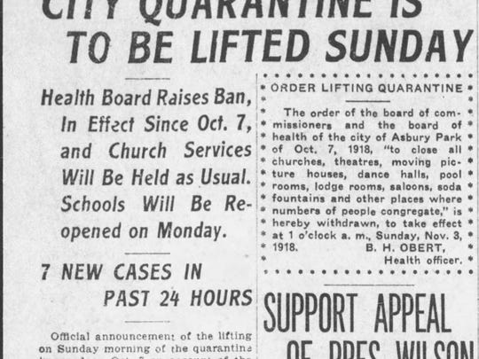 Front page article in the Asbury Park Press from Nov. 1, 1918, three weeks after the city was placed under quarantine to contain the deadly outbreak of the Spanish flu.
