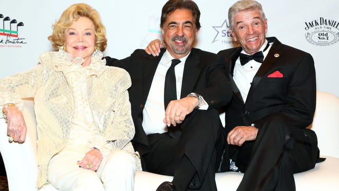 Barbara Sinatra is pictured with her past co-host of the Frank Sinatra Celebrity Invitational, Joe Mantegna (center) and long-time emcee of the Saturday Gala, Tom Dreesen. The tournament has been renamed and re-formatted.