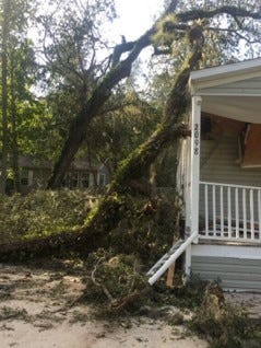 Damage was widespread with extensive outages all along the coastal city of New Smyrna Beach, Florida.