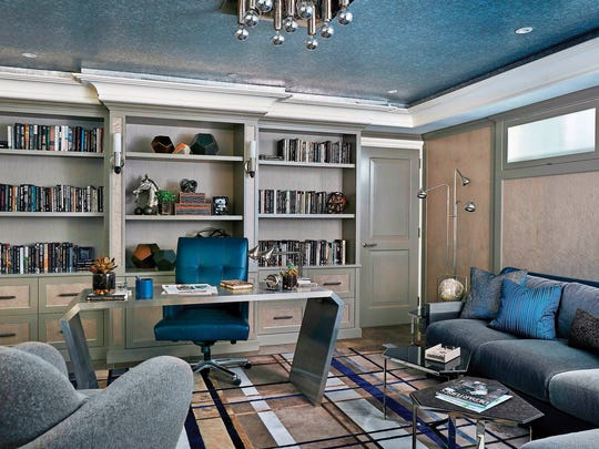 Details like crown molding and built-in shelving give