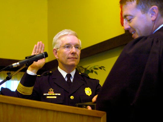 David Bailey was sworn in as the police chief for the Lancaster Police Department on Nov. 26, 2007, at the Fraternal Order of Police Lodge.