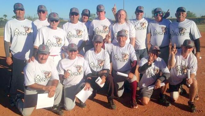 Members of the Boomers are from left, back row, Robert Mease, Bill French, Louie Ortega, Bob Ward, Pete Lozano, Louie Ortega, Dean Bearup, Bob Chesney, Steve Armstrong, John Housermann, Bobby Ruiz,                                                                                   Front row, are, Miguel Medrano ,Juilo Rios, Johnny Ortega, Vic Nañez, Lupe Lopez, and Bill Neal.