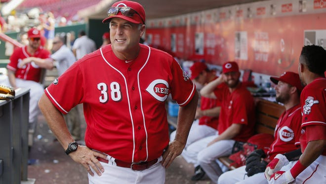 Cincinnati Reds manager Bryan Price (38) paces the dugout during the MLB National League game between the Los Angeles Dodgers and the Cincinnati Reds, Monday, Aug. 22, 2016, at Great American Ball Park in Cincinnati.