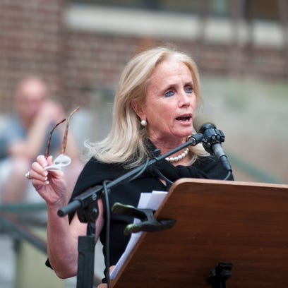 Congresswoman Debbie Dingell speaks during a rally