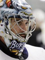 Buffalo Sabres goalie Ryan Miller looks on during an