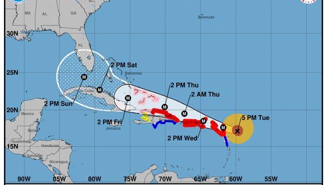 Hurricane Irma 5 p.m. Tuesday, Sept. 5 forecast